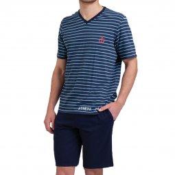 Pyjama short homme coton