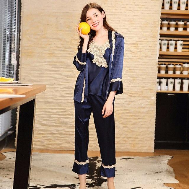 Pyjama femme soie satin