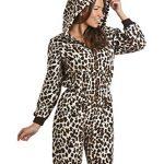 Pyjama combinaison femme leopard