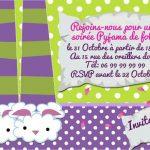 Carte d invitation pyjama party a imprimer