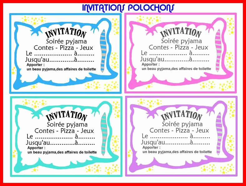 Carte invitation anniversaire à imprimer gratuite soirée pyjama