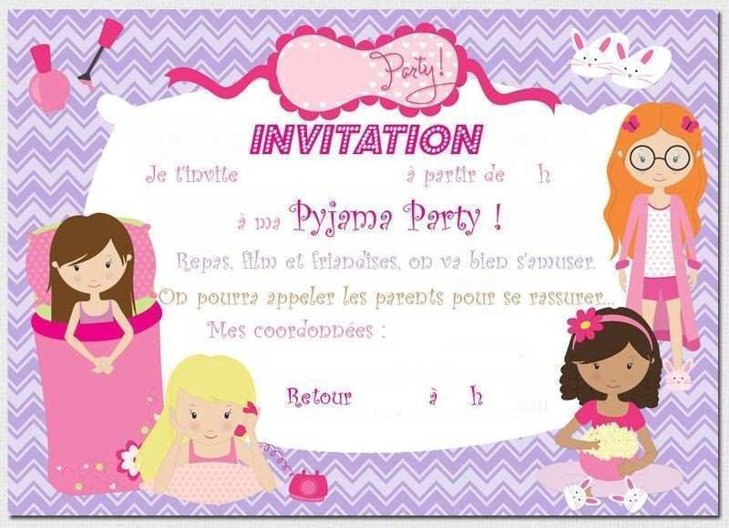 Carte pyjama party gratuite imprimer