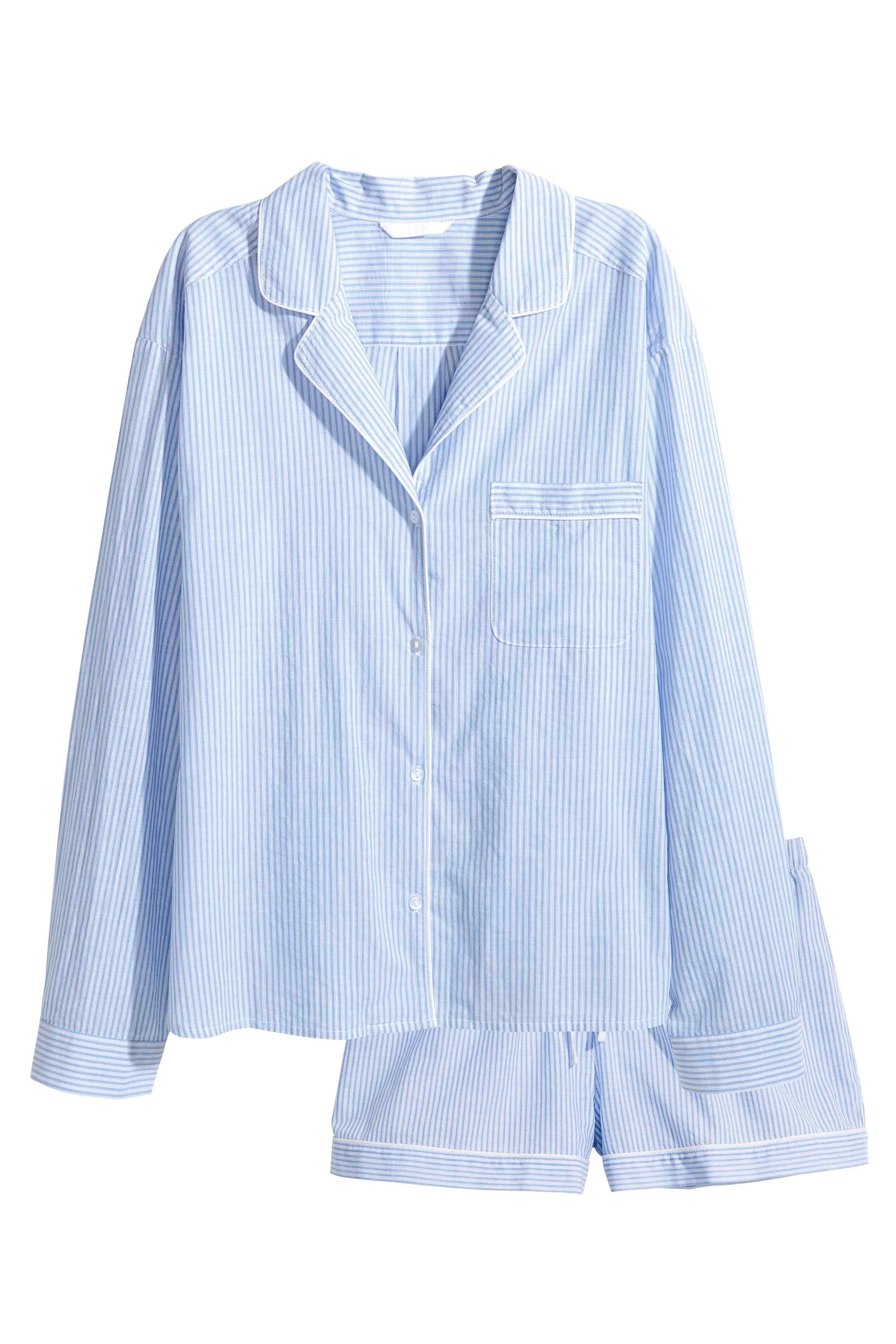 Pyjama femme rayé bleu et blanc