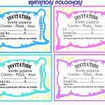 Carte invitation pyjama party gratuite imprimer
